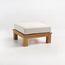 raffles teak ottoman with sunbrella cushion