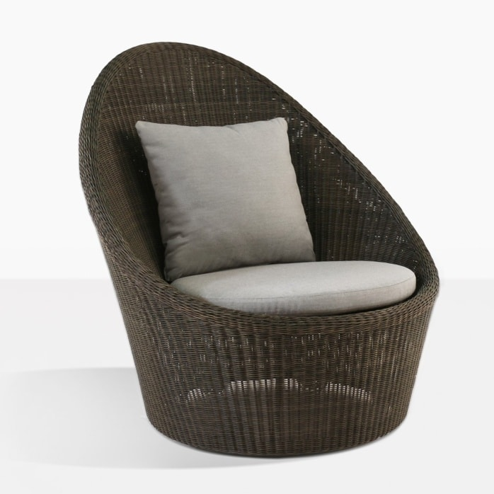 Sunai wicker relaxing swivel chair brown