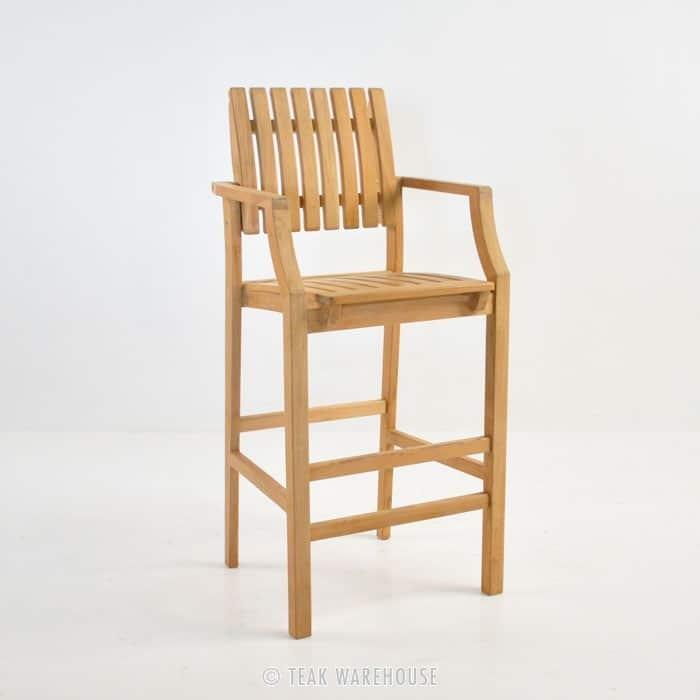 teak bar stool front angle