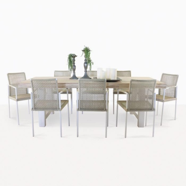 Village Reclaimed teak table with 8 chairs