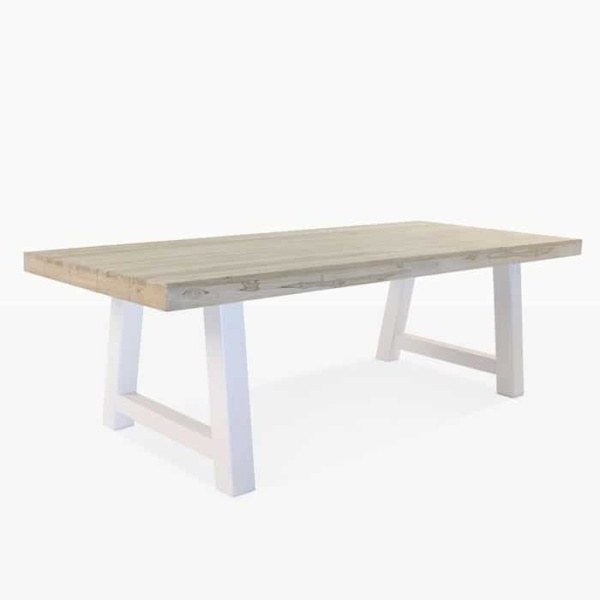 Village teak and steel outdoor dining table
