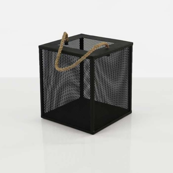 Barton black iron candle holder box