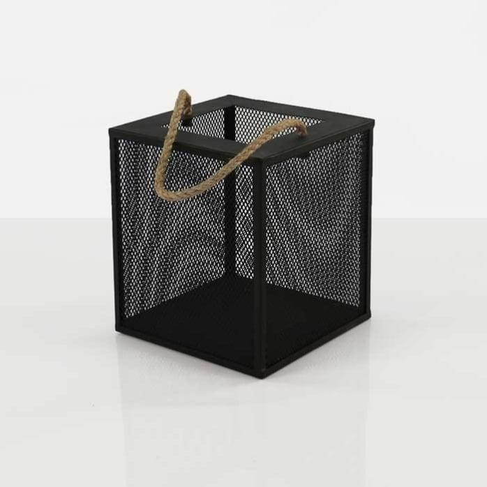 Barton black iron candle holder box