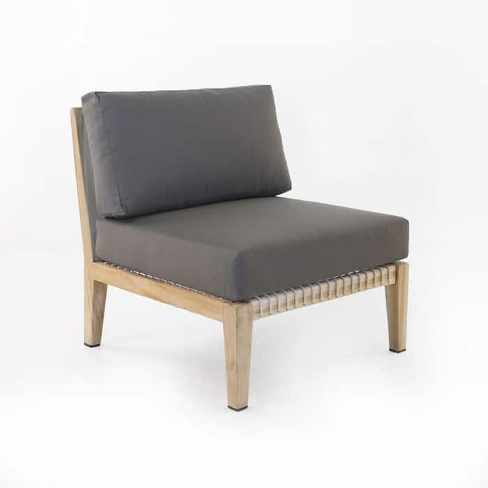 Bay Teak Center chair with gray cushions