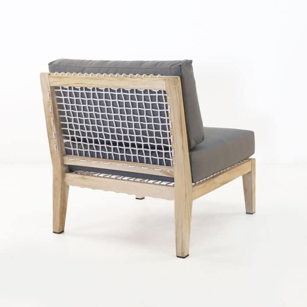 Bay Teak Center chair with gray cushions back view