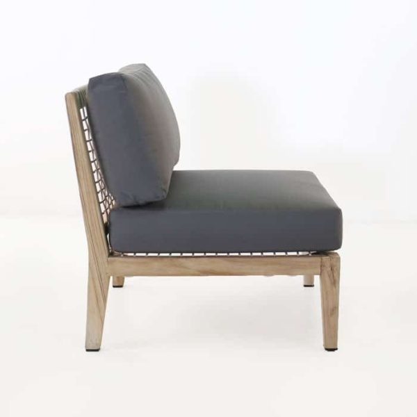 Bay Teak Center chair with gray cushions side view