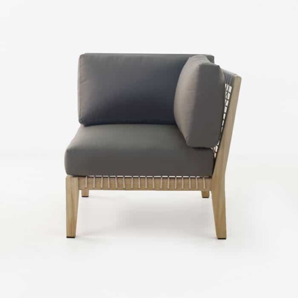 Bay Teak Corner chair with Gray cushions side view