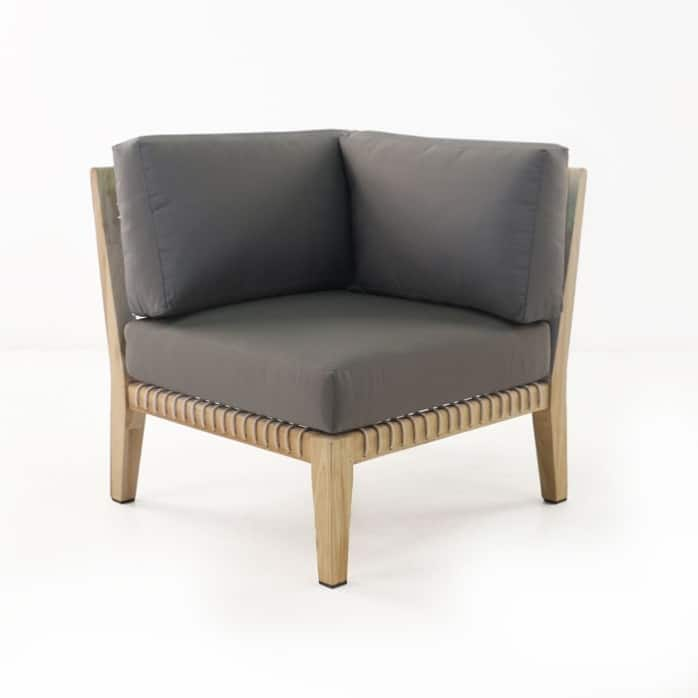 Bay Teak Corner Chair with gray cushions