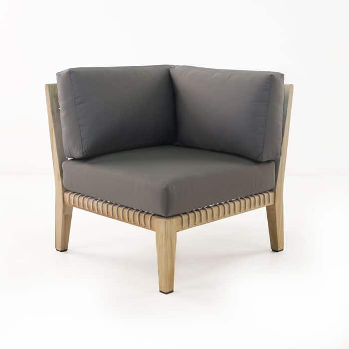 Bay Teak Corner Chair with gray cushions