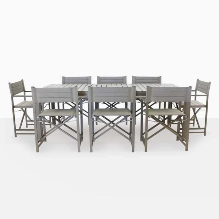 El Fresco rectangle dining table with 8 director chairs
