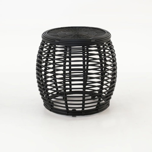 Kane black wicker side table
