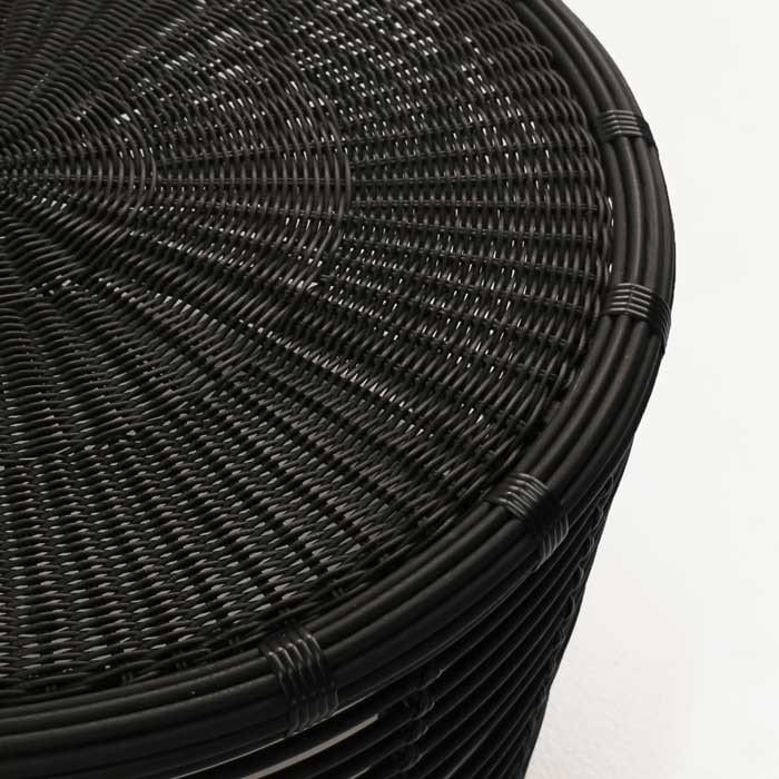 kane wicker black coffee table closeup image