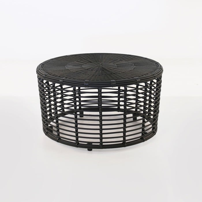 Black Wicker Coffee Table: Kane Drum Wicker Coffee Table (Charcoal Black)