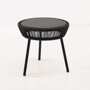 Luxe black side table front