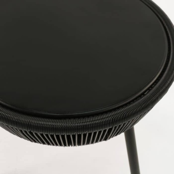 Luxe black accent table top view