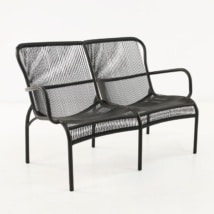 Luxe black loveseat outdoor front