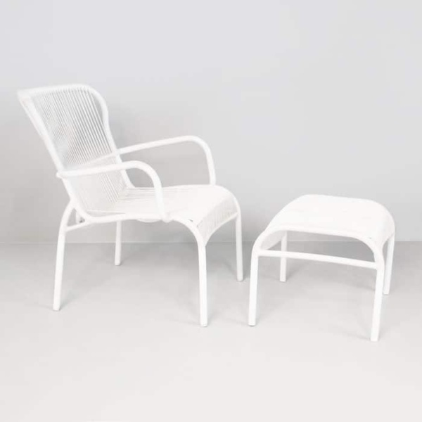 Luxe Outdoor Chair And Ottoman White Design Warehouse Nz