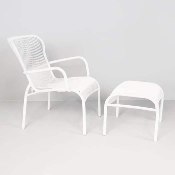 Luxe white chair and ottoman