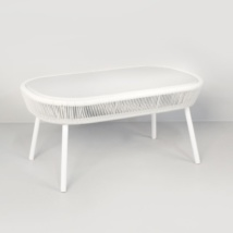 Luxe white coffee table side angle