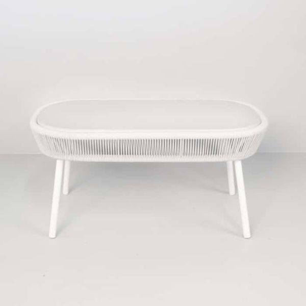 Luxe white accent table side view