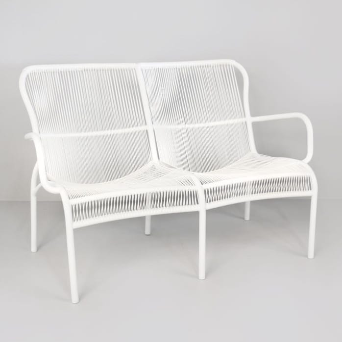 Luxe white loveseat front