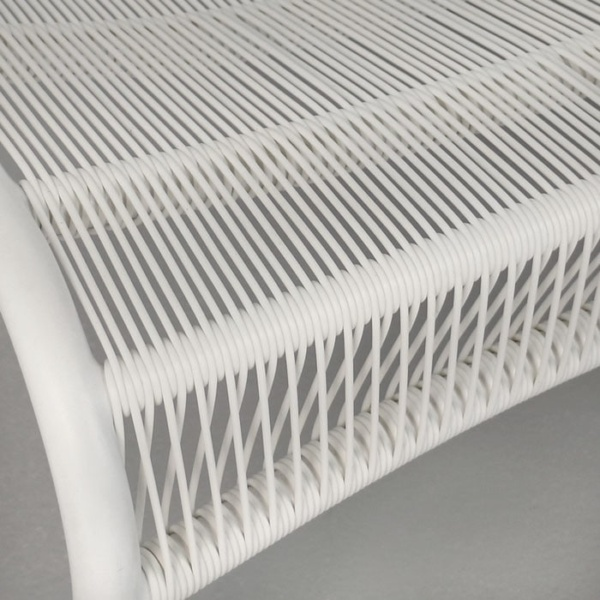 Luxe white plastic strands loveseat close up