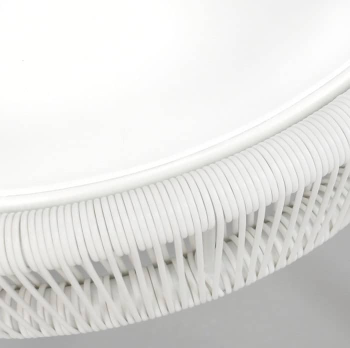 Luxe white side table close up