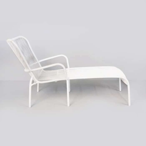 Luxe white sun lounger side view