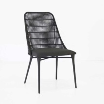 Morgan black wicker dining chair cocoa