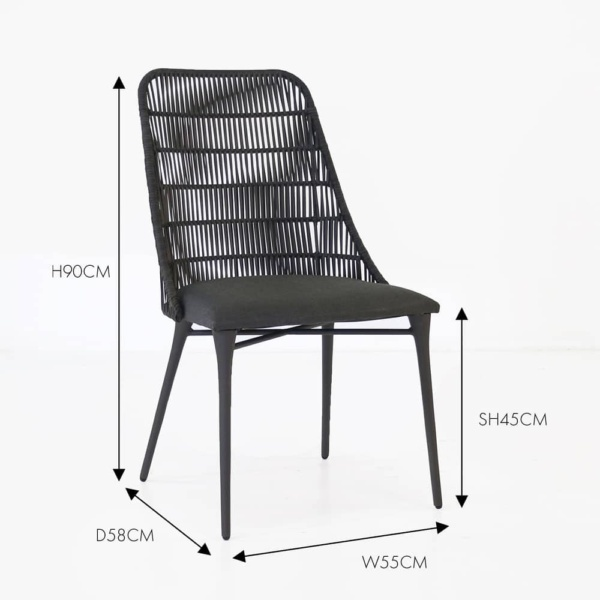 Morgan black outdoor dining chair