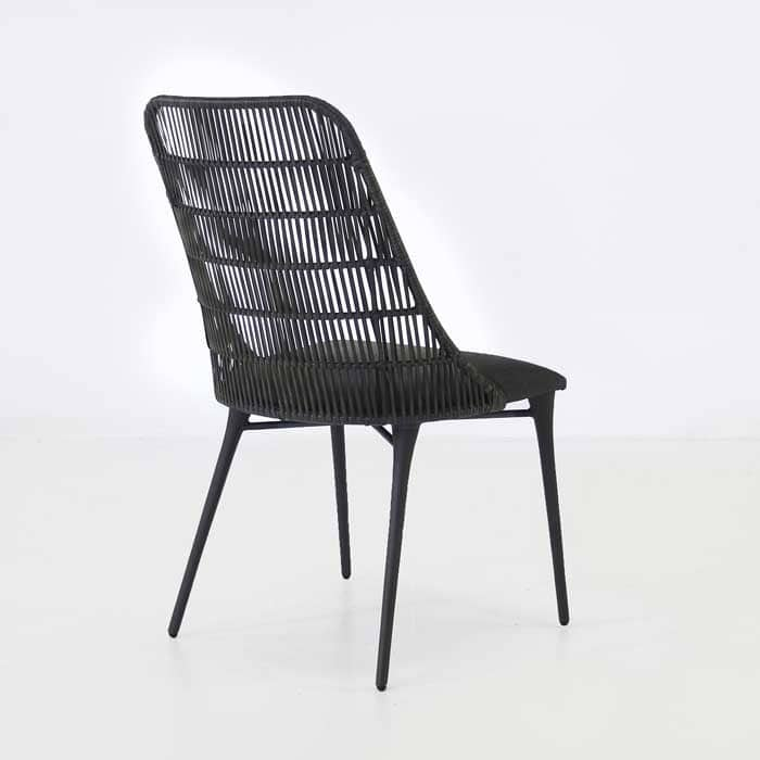 Morgan black wicker dining chair back view