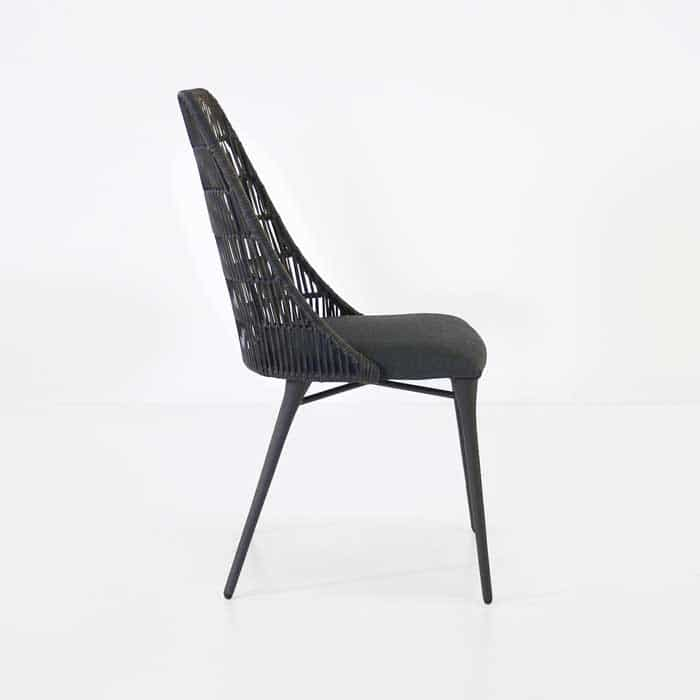 Morgan black wicker dining chair side view
