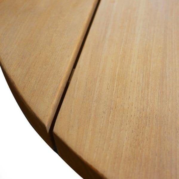 closeup of soho teak round coffee table
