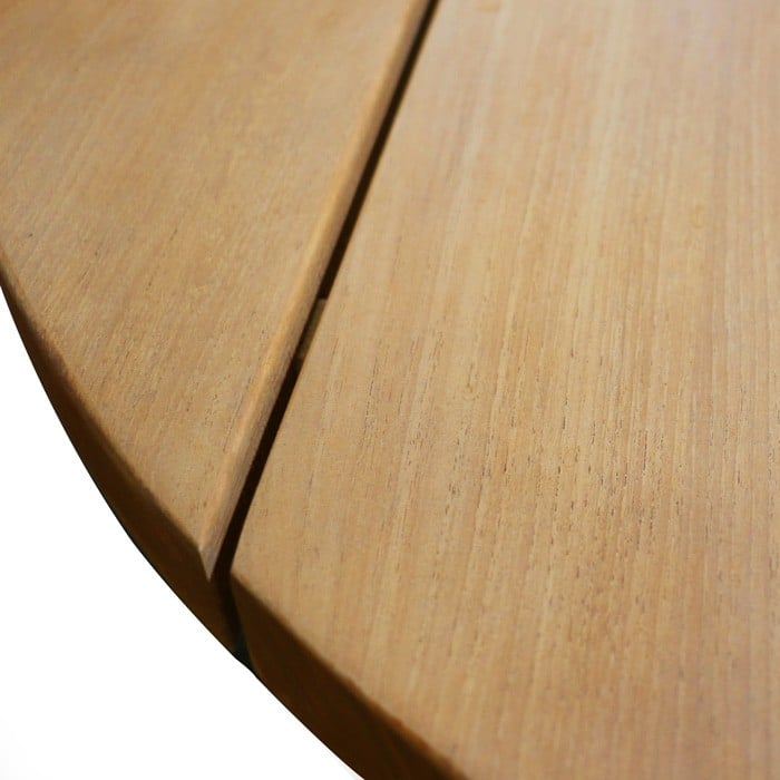closeup of soho teak round coffee table