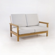 st tropez teak loveseat with sunbrella cushions