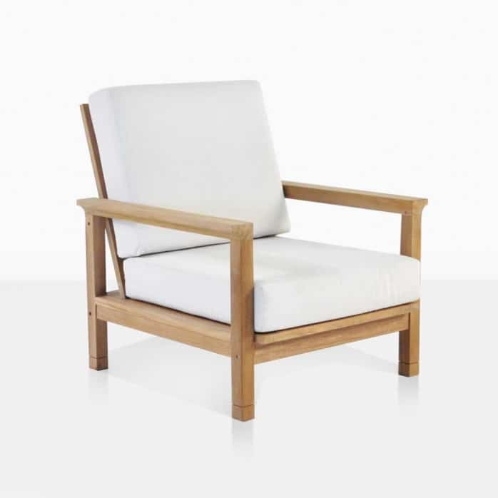 st. tropez teak outdoor club chair angle
