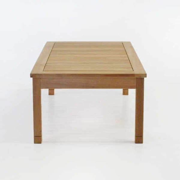 end view of st tropez teak coffee table