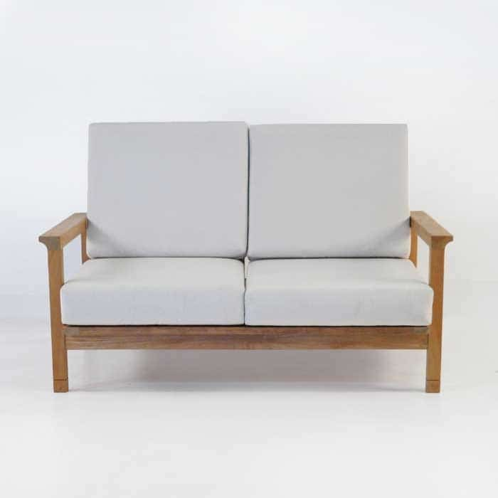 st tropez teak loveseat front view with cushions