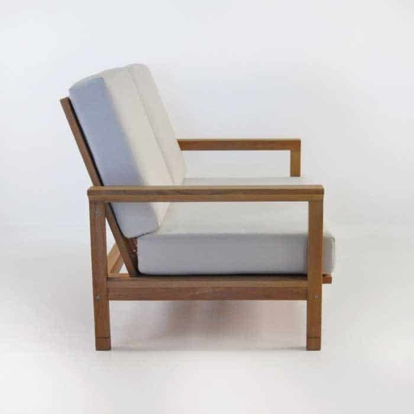 st tropez teak loveseat side view