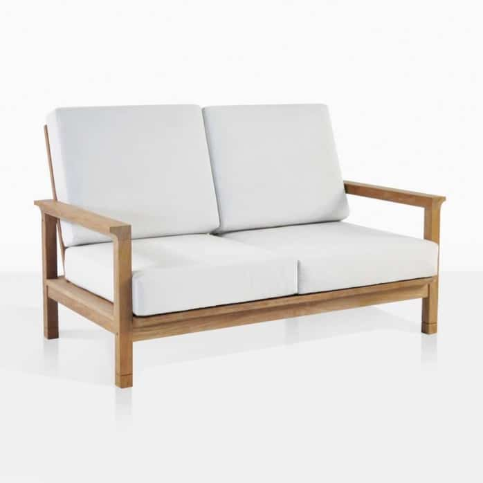 st. tropez teak outdoor loveseat angle