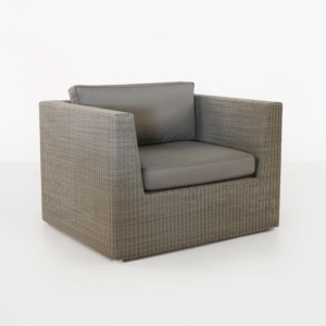 Antonio Outdoor Wicker Club Chair Stonewash front view