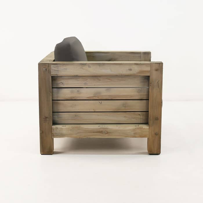 Lodge distressed teak chair side view