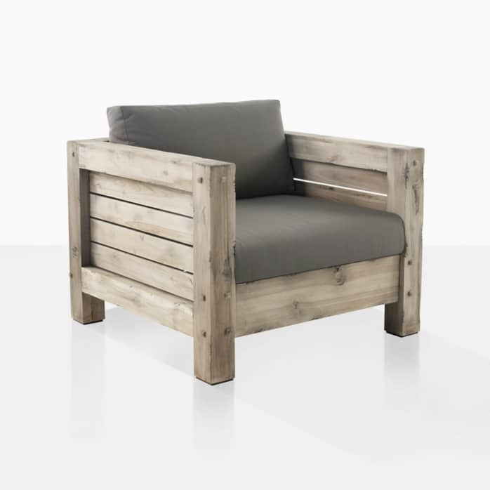 lodge outdoor distressed teak club chair angle