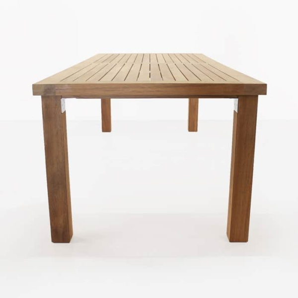 Long Island A-grade teak dining table side view