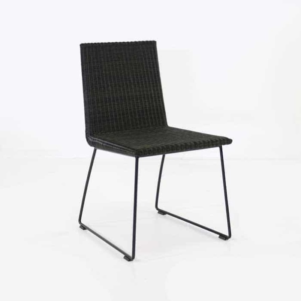 Village modern outdoor wicker dining chair in black