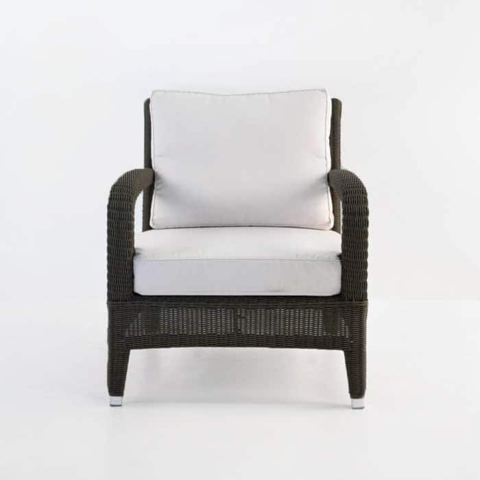 Aaron Outdoor Relaxing Wicker Chair Java side view