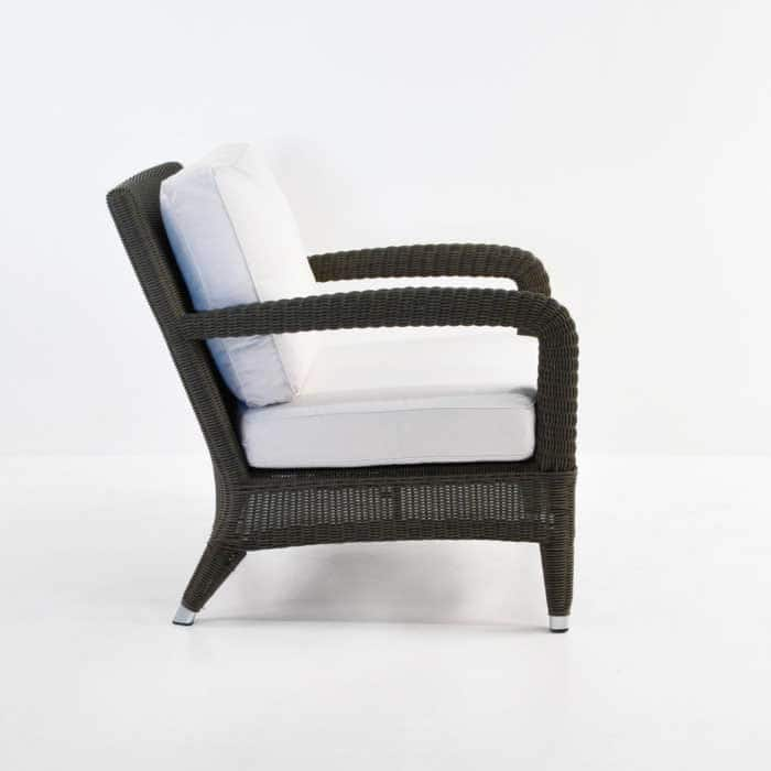 Aaron Outdoor Relaxing Wicker Chair Java with white cushions