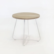 East teak and white accent table