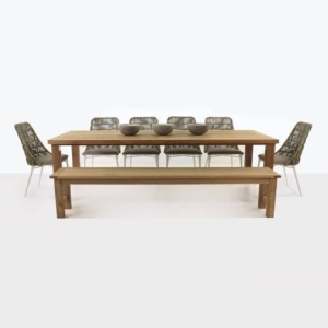 Long Island teak and wicker outdoor dining set