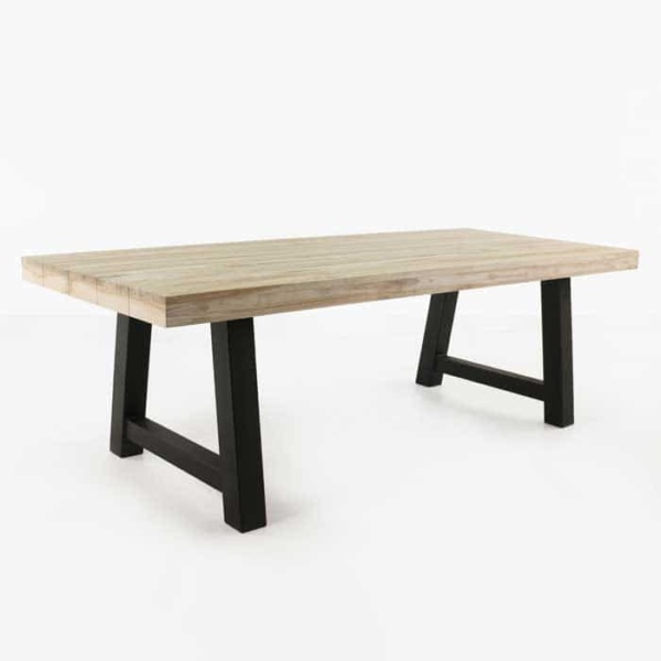 Village reclaimed teak table with black legs